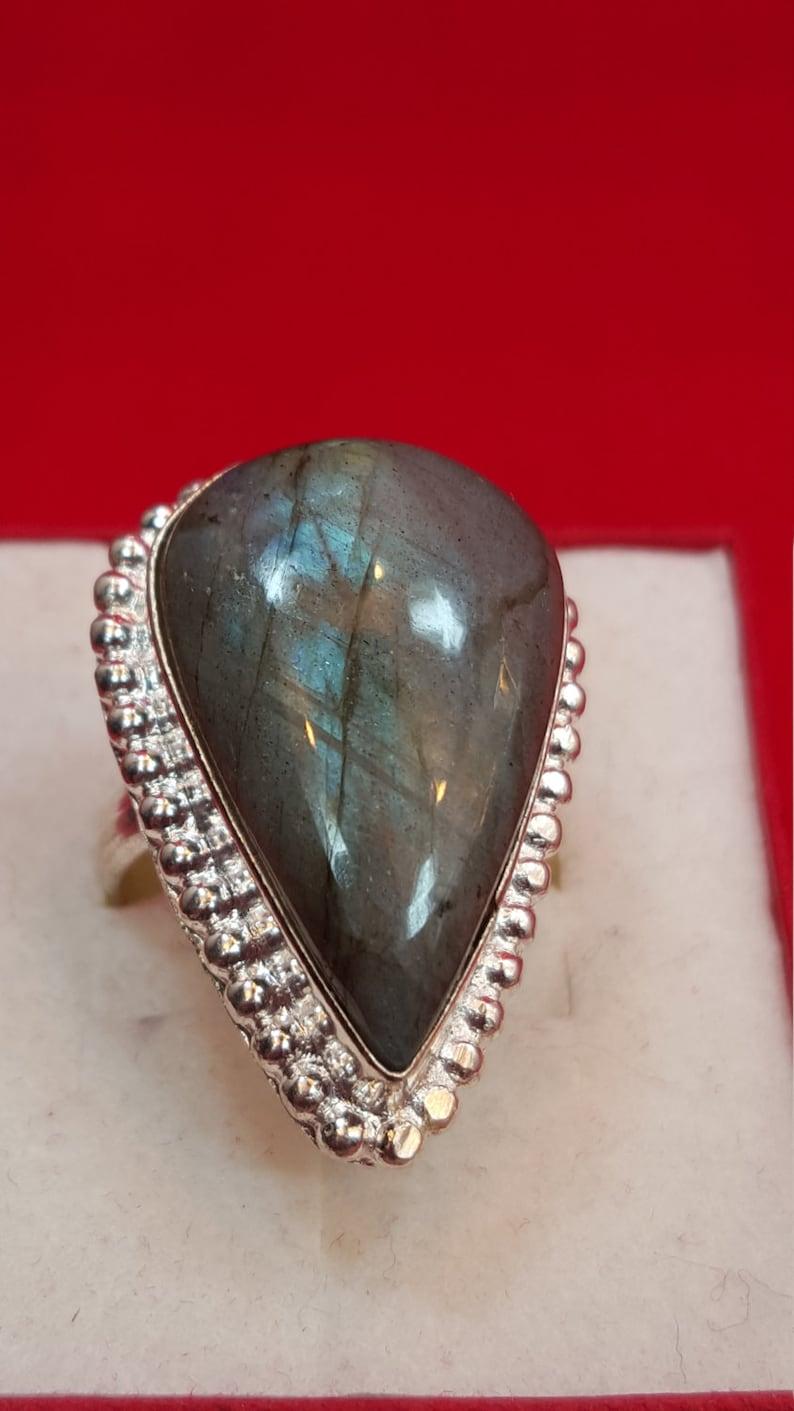 Sterling Silver Ring.925 Stamped Ring.Fire Labradorite Ring.Handmade Ring.Statement Ring.Bridal Gift.Wedding Engagement Ring.Cocktail.R41-50