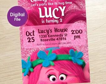 Trolls Birthday Invitation Digital Party Poppy Invitations