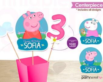 Peppa Pig Centerpiece, Peppa Pig Centerpiece, Peppa Pig decorations, Peppa pig party supplies, peppa pig birthday, peppa pig party printable
