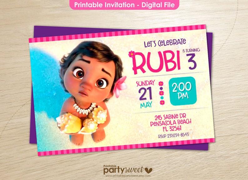 Baby Moana Invitation Printable Party