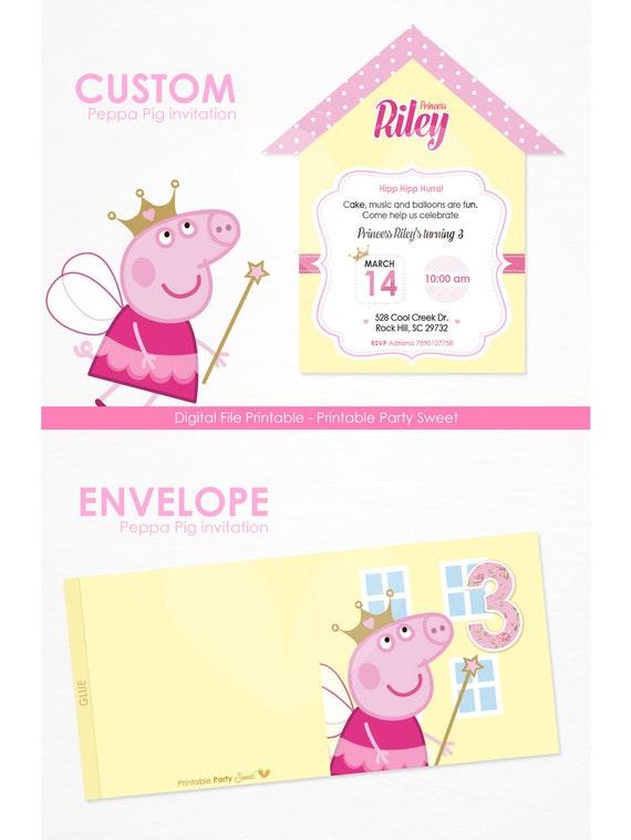 Peppa Pig Invitacion Peppa Pig Cumpleaños Tarjeta Invitacion Personalizada Descarga Digital Peppa Pig Princesa Invitación Imprimir Peppa