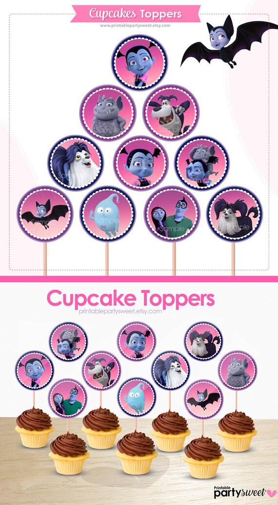 Cumpleaños Vampirina Etiquetas Vampirina Para Cupcakes Vampirina Articulos Para Fiesta Decoracion Vampirina Vampirina Diseño Digital