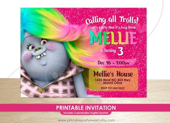 trolls birthday invitation trolls invitation trolls digital etsy