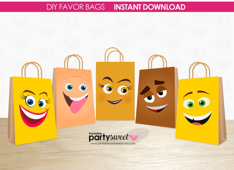 Emoji Movie Birthday 5 Favor Bags Gift Party Emo