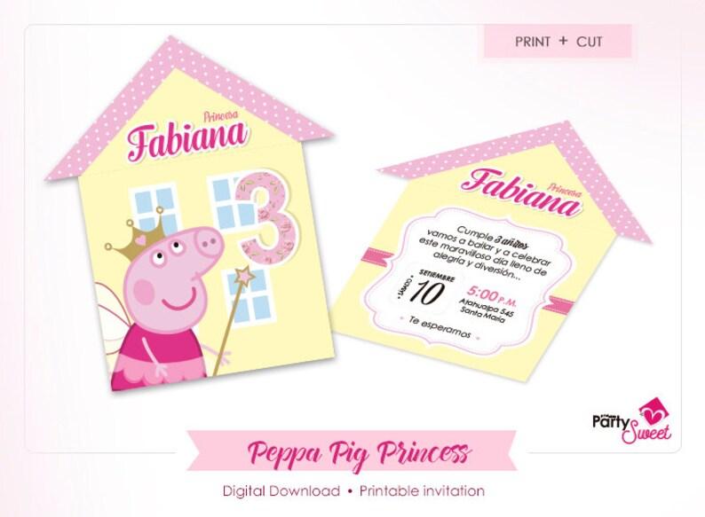 Peppa Pig Invitation Birthday Invitation Peppa Pig Party Invite Printable Invitations Peppa Pig Invites Peppa Pig Princess