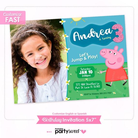 Invitacion De Cumpleaños Peppa Pig Tarjeta De Invitacion Peppa Pig Imprimir Invitacion Personalizada Peppa Pig Con Foto