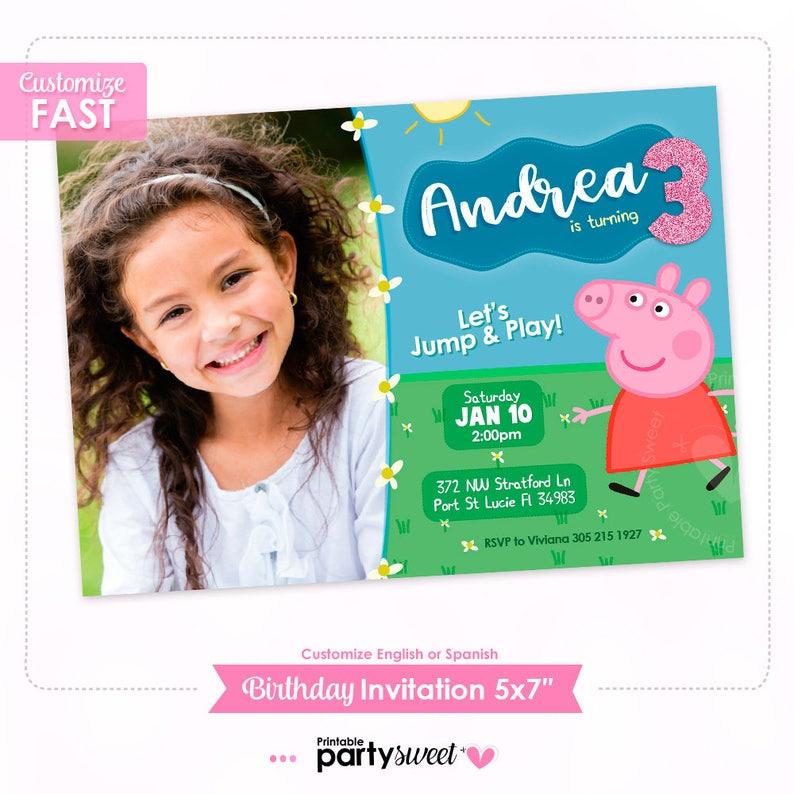 Peppa Pig Birthday Invitation Photo Peppa Pig Party Invite Boy Girl Birthday Printable Invite Peppa Photo Invitation Digital File