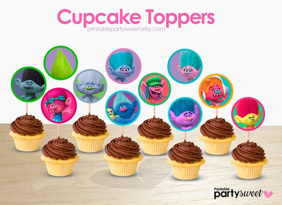 Trolls Cupcake Toppers Troll Party Supplies