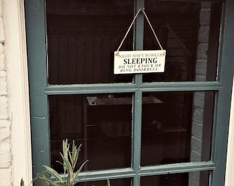 Night shift worker, nurses door sign, do not disturb, sleeping plaque