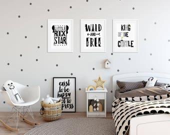 Scandinavian BOYS KING Of The CASTLE, Monochrome Bedroom Prints Bedroom  Decor Graphics Cool Kids Bedroom