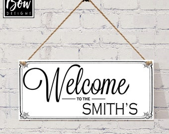 PERSONALISED welcome to the ???? home sign, house sign, wedding gift, new home.