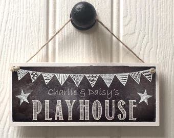 PLAYHOUSE PERSONALISED SIGN  chalkboard effect, boys girls den sign