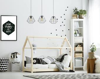 Scandinavian Think HAPPY be Happy,  poster A3 monochrome  bedroom prints bedroom decor graphics cool kids bedroom