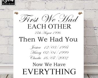 FIRST we had each other......Now we have everything family, wedding, PERSONALISED gift sign, anniversary, valentines love plaque