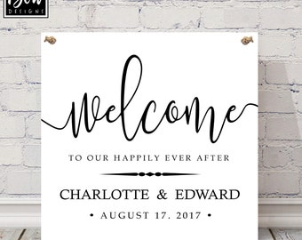 Wedding gift 'Welcome to our Happy ever after' Personalised wedding decor, wedding design, venue decor, wedding keepsake sign