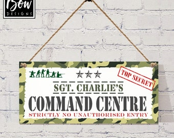 Camo, army, soldier  boys bedroom den sign, top secret, sgt, command centre PERSONALISED