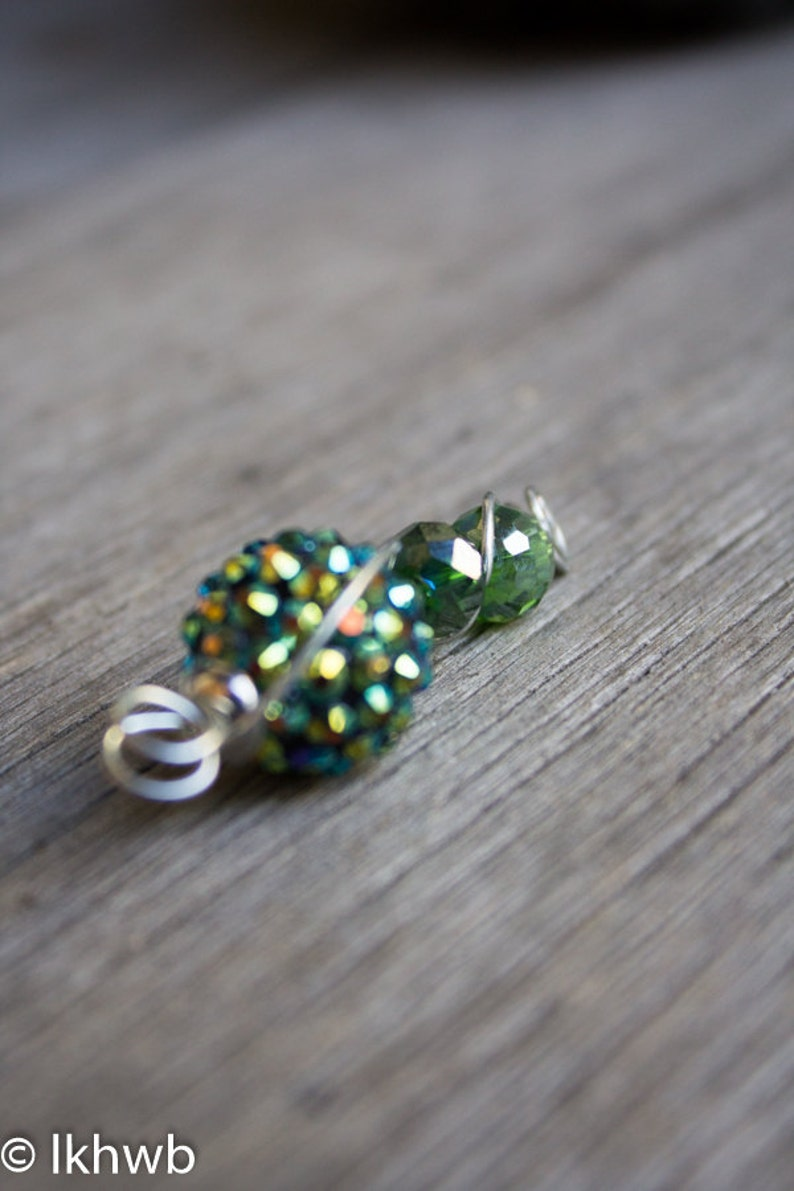 Vintage Rhinestone Bead Pendant /& Necklace Wire Wrapped OOAK Silver Toned Lime Green Yellow Blue Quirky Statement Refashion Upcycle Eco Boho