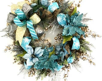 elegant blue and silver christmas wreath ornate evergreen christmas wreath blue christmas wreath gorgeous holiday wreath winter wreath - Blue Christmas Wreath
