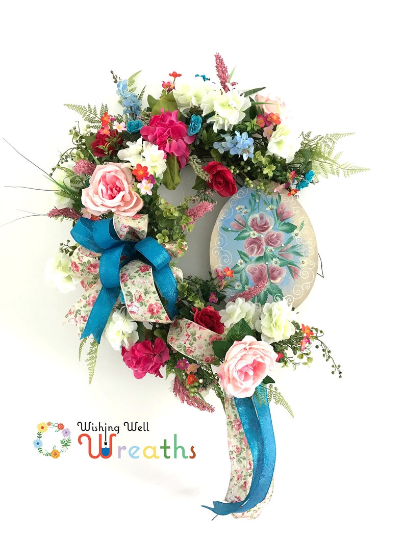large Easter wreath Extra Large Wreath Spring Flower Wreath for Door Shabby Chic Wreaths for Front Door hydrangea Wreath with Roses
