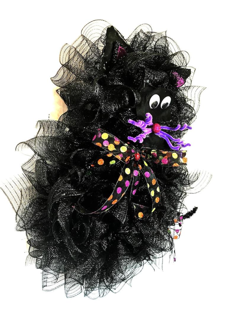 Black Cat Witch Halloween door wreath Halloween Mesh Wreath Cat Wreath Halloween Decor Halloween Black Cat Wreath Cat door Wreaths,