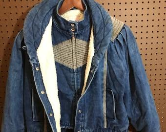 1980s Denim Jacket Vintage Women's Large / Lined For Warmth