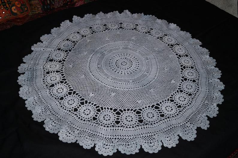 Grey crochet circle tablecloth 113 cm table decoration handmade flower crochet tableclothes crochet doily,vintage centerpiece home decor
