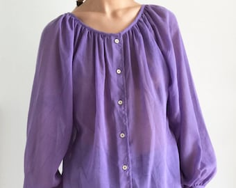 Vintage 70s Lavender Purple Long Sleeve Blouse, Button Up Shirt