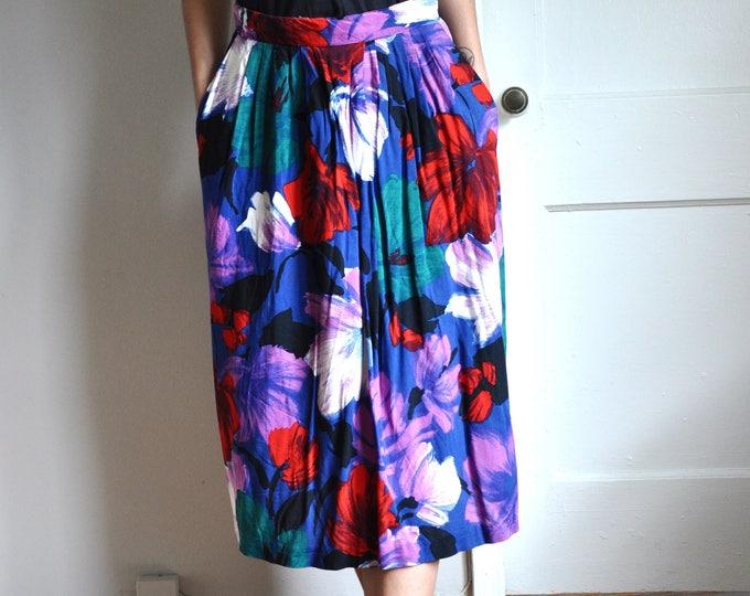Jewel Tone Painted Print Size 28 Waist Vintage 90s Floral Midi Skirt