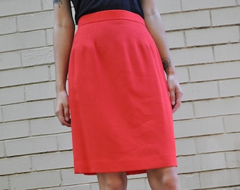 Vintage 80s Scaasi Red Knee Length Skirt, Size 26 Waist