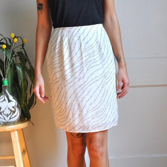 Vintage 90s White and Brown Vine Print Skirt, 26 I