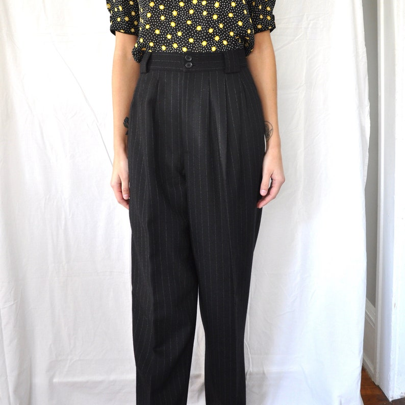 8625c6546dd3 Vintage 80s Black Pinstripe Wool High Rise Trousers 28 Inch