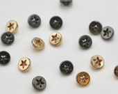 Small Round Metal Star Cut Out Buttons in Gold/Rose Gold and Anthracite Gunmetal 1cm/10mm