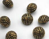 Antique Gold Beaded Effect Vintage Buttons - Glass Shank Buttons