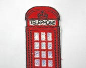 Iron on Embroidered Red Telephone Box Motifs/Patches/Appliqué With Shimmering Sparkle Glitter Detail 6.4cm x 2.5cm Wide Superb quality