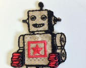 Iron on Embroidered Robot Motif/Patch/Appliqué Patch with Gold Glitter Sparkle Detail