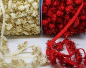 Christmas Tinsel Pom Pom Trim/Garland Sold by the Metre - Red/Cream/Gold - Perfect for Christmas Decorating