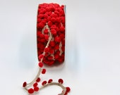 Delicate Dark Red Pom Pom Trim on a Natural Tape Base Approx 15mm Wide/Sold by the Metre