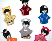 Kokeshi Doll Patches, Japanese Patches, Wooden Doll, Iron On Patch/Applique/Motifs-Embroidered Felt-Pink, Blue, Teal, Orange, Yellow, Maroon