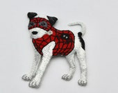 Disguised Dog Superhero Motif/Embroidered Superhero Iron-on Patch - 5cm x 6.5cm