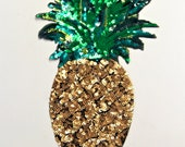 Pineapple Motif Giant Iron on Sequin Pineapple Motif/Patch - Motif measures Approx 30cm x 16cm