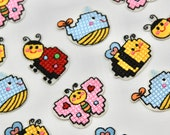 Bee, Whale, Ladybird, and Butterfly Cross Stitch, Iron on, Motifs/Embroidered Patches - High Quality