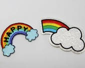 Happy Rainbow and Rainbow Sequin Cloud Beautiful Quality Embroidered Iron on Motifs/Patches Appliqué Patches