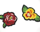 Flower Motifs - Iron-on/Embroidered Motifs/Patches/Canal Boat/Barge Folk Art/Yellow Pansy & Red Rose/Floral Emblems/Floral Embellishments