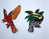 Iron on Embroidered Parrot or Toucan Motifs/Patches/Appliqué Patch in Vibrant Colours - Superb Quality