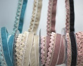 Velvet and Chenille Trim - 30mm Wide - Cream, Duck Egg Blue, Vintage Pink, Slate/Pink