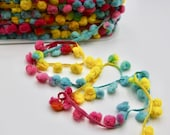 Pastel Brights Pom Pom Trim with Woven tape with Tie Dyed Effect Pom Poms in Pink, Yellow and Aqua Blue