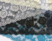 Exquisite Quality Lace Trim in Cream, Black, Teal and Light Grey - Lingerie Lace/Bridal Lace/Bra Lace/Bra Making Lace/Dressmaking Lace