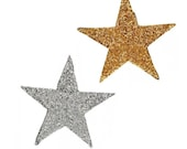 Giant XL Star Sequin Iron-on Motif Patch Gold and Silver 25x25cm