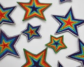 Rainbow Star Motifs - Handmade Machine Embroidered Patch
