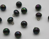 Iridescent Rainbow Anthracite Ball Buttons with Silver Shank 10mm - Lightweight and High Quality